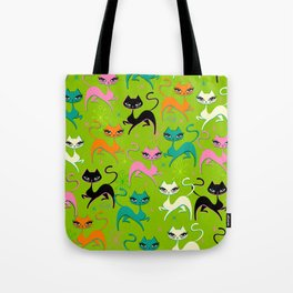 Prancing Kittens on Lime Tote Bag
