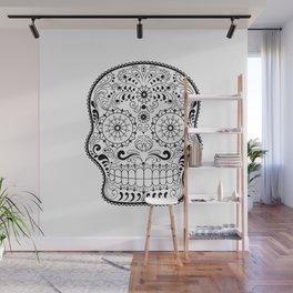 Black and White Sugar Skull Wall Mural