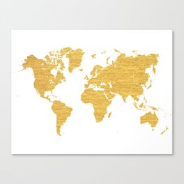 WORLD MAP : GOLD Canvas Print