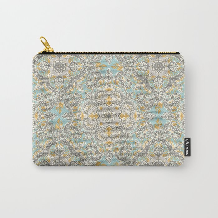 Gypsy Floral in Soft Neutrals, Grey & Yellow on Sage Carry-All Pouch