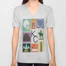 Kansas City Landmark Print Unisex V-Neck