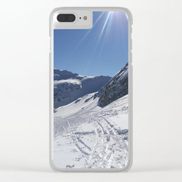 Up here, with sun and snow Clear iPhone Case