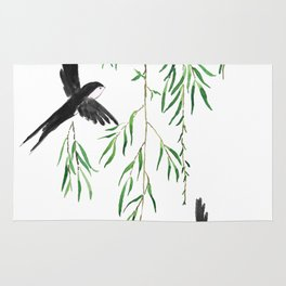 green willow leaf and swallow watercolor Rug