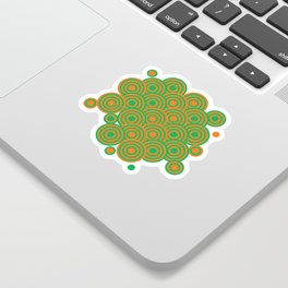 op art pattern retro circles in green and orange Sticker