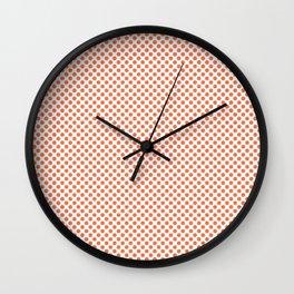 Coral Rose Polka Dots Wall Clock