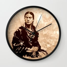 FRIDA - the mistress of ARTs - sepia version Wall Clock