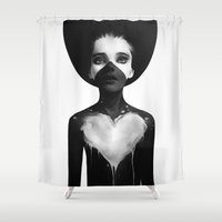 black Shower Curtains featuring Hold On by Ruben Ireland