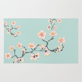 Sakura Cherry Blossoms x Mint Green Rug