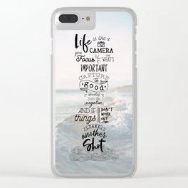 Life is Like a Camera Travel Photography Quote // Beach + Ocean Waves Background Clear iPhone Case