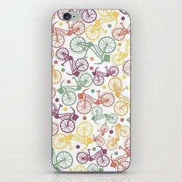 Whimsical bicycle pattern & retro polka dots iPhone Skin