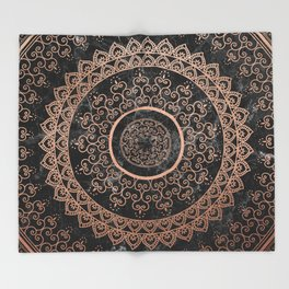 Mandala - rose gold and black marble Throw Blanket