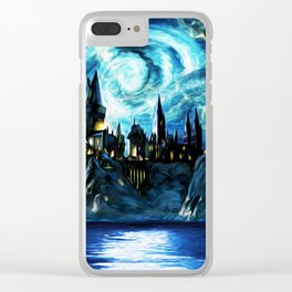 Starry Night Hogwarts Clear iPhone Case