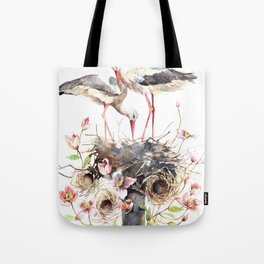 Stork Nest, Many Small Nests, Pale Pink Clematis Vine, Nature, White Storks Tote Bag