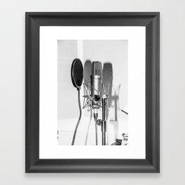 Microphone black and white Framed Art Print