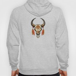 Decorated Native Bull Skull with Feathers Hoody