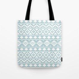 Aztec Essence Ptn III White on Duck Egg Blue Tote Bag