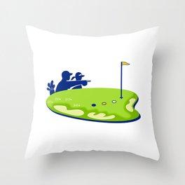 Golfer Caddie Golf Course Retro Throw Pillow
