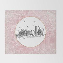 Boston, Massachusetts City Skyline Illustration Drawing Throw Blanket
