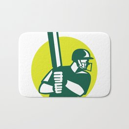 Cricket Batsman Batting Icon Retro Bath Mat