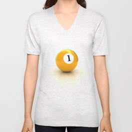 yellow pool billiard ball number 1 one Unisex V-Neck