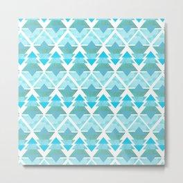 Ice Blue Geometric Forest Metal Print