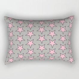 Stars pattern pink on grey Rectangular Pillow