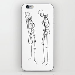 Black Ink Illustration of Two Human Skeletons iPhone Skin