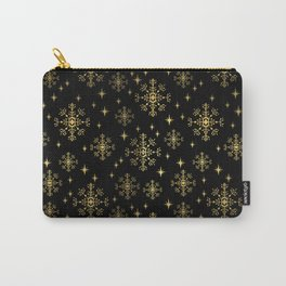 Gold and black snowflakes winter minimal modern painted abstract painting minimalist decor nursery Carry-All Pouch