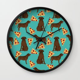 chocolate lab pizza dog breed pet portrait gifts for labrador retriever lovers Wall Clock