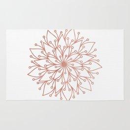 Mandala Blooming Rose Gold on White Rug