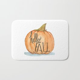 Hello fall pumpkin Bath Mat