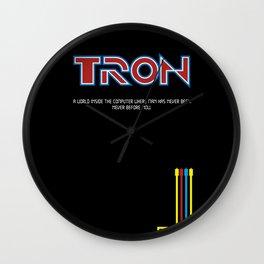 Tron 1982 - minimalist, alternative poster, scy-fi poster, Jeff Bridges, Bruce B Wall Clock