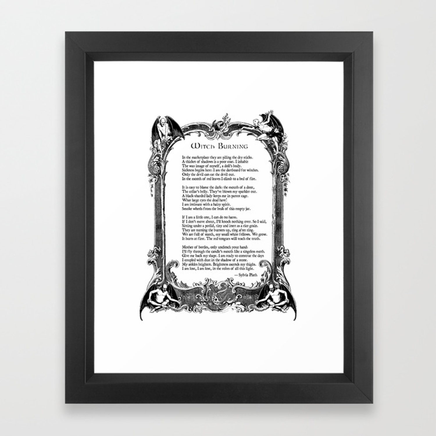 Witch Burning Sylvia Plath Poem Framed Art Print