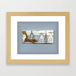 Flying over the city Framed Art Print