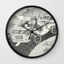 Doot car with women, character, and umbrella, driving Wall Clock