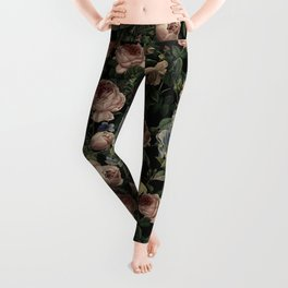 Vintage Roses and Iris Pattern - Dark Dreams Leggings