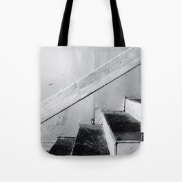 wood stairway with wood background in black and white Tote Bag