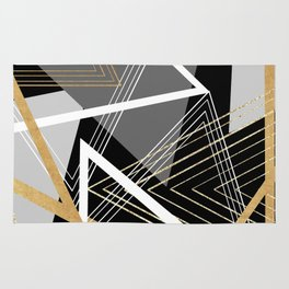 Original Gray and Gold Abstract Geometric Rug