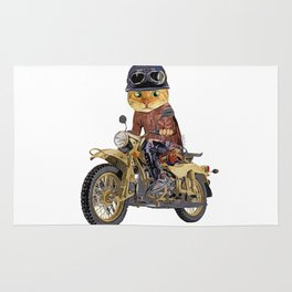 Cat riding motorcycle Rug