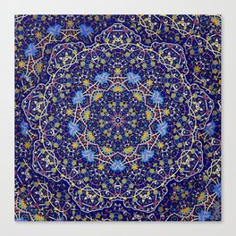 Nine sided ornament in blue with swirly things and such Canvas Print