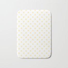 Small Polka Dots - Blond Yellow on White Bath Mat