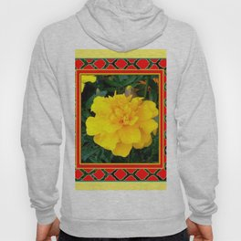 DECORATIVE TEAL-RED & YELLOW  MARIGOLD FLORAL Hoody