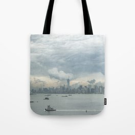 Cloudy New York Harbor Tote Bag