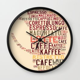 many types of coffee Wall Clock