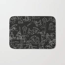 Chalkboard Yoga Pattern - white on black Bath Mat