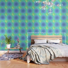 Romantic blue and green flower, digital abstracts Wallpaper