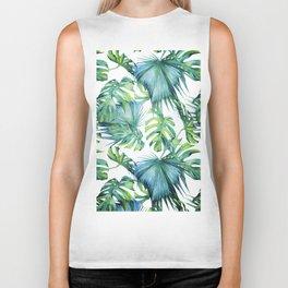 Blue Jungle Leaves, Monstera, Palm #society6 Biker Tank