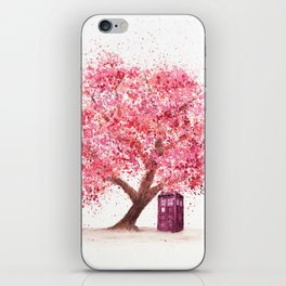 Tardis Art Autumn Tree Blossom iPhone Skin