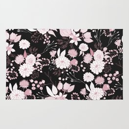 Blush pink white black rustic abstract floral illustration Rug