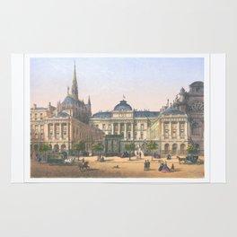 Paris art print Paris Decor office decoration vintage decor PALAIS DE JUSTICE of Paris Rug